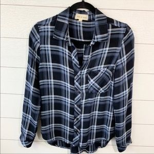 Anthropologie Cloth & Stone Blue Plaid Button Down